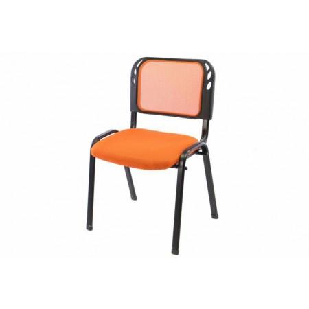 Kovová židle s polstrovaným sedákem, stohovatelná, oranžová
