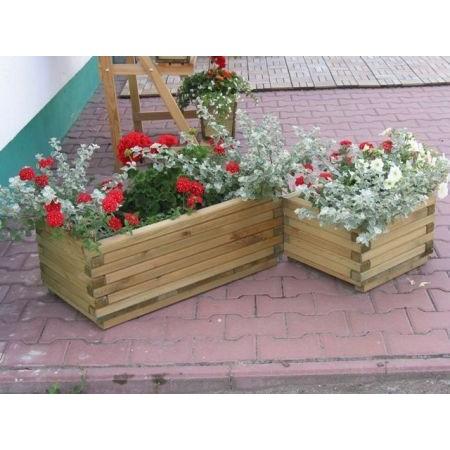 Ozdobný venkovní květináč dřevěný, impregnovaný, 80x40x30 cm