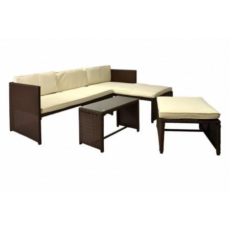Venkovní ratanový nábytek, rohová pohovka, hnědý