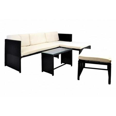 Venkovní ratanový nábytek, rohová pohovka, černý