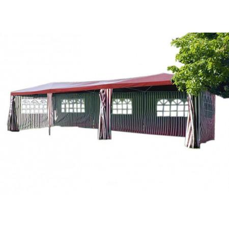 Velký párty stan 3x9 m, boční stěny s okny, červená / bílá