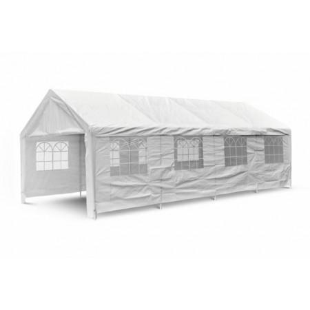 Stan na párty 4x8 m, bílý, kovová konstrukce, s okny