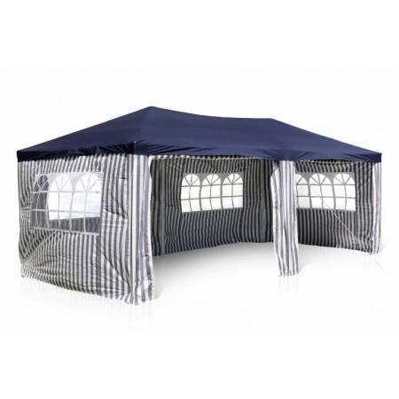 Levný stan na párty 3x6 m, boční stěna s okny, bílá / modrá