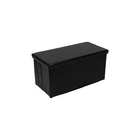Polstrovaná skládací lavice s úložným prostorem, černá