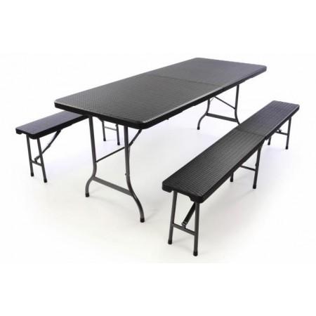 Pivní set - stůl s lavicemi, kov / plast, ratanový vzhled