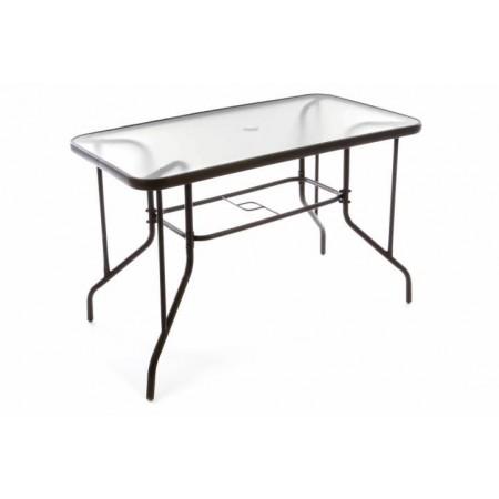 Kovový zahradní stolek se skleněnou deskou