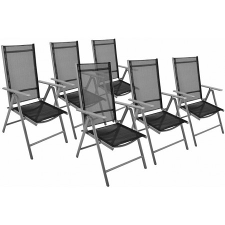 6 ks skládací zahradní židle s textilním potahem, černá