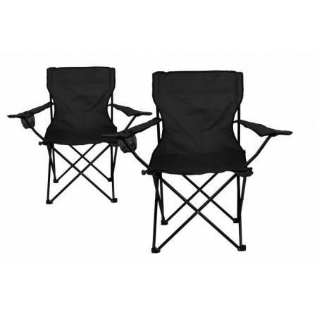 2 ks skládací textilní židle s držákem nápojů, černá