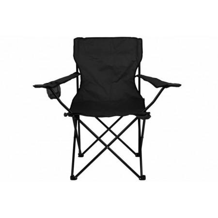 Skládací textilní židle s držákem nápojů, černá