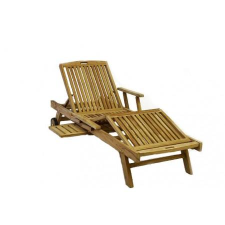 Dřevěné relaxační lehátko nastavitelné, teakové dřevo
