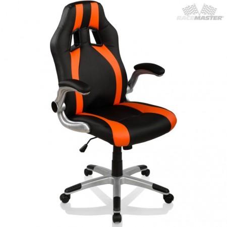 Kancelářské otočné křeslo- houpací, černá / oranžová