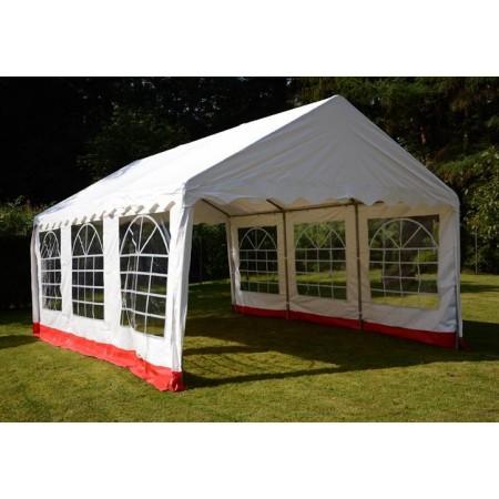 Zahradní stan 4x6 m s konstrukcí z ocelových trubek, bílo - červený