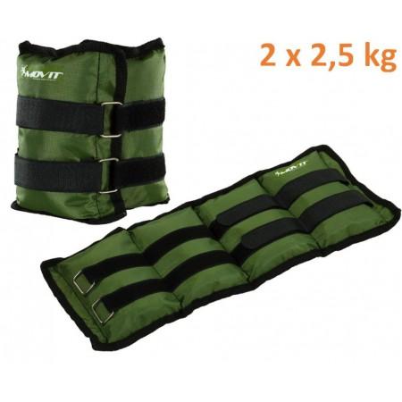 Fitness zátěže na ruce a nohy, 2 x 2,5 kg, zelené
