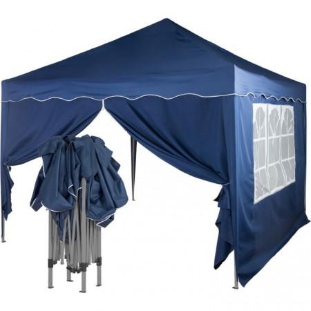 Zahradní párty stan 3x3 m, 2 boční stěny se zipem a oknem, modrý