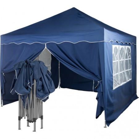 Párty stan- altán 3x3 m, boční stěny s okny a zipem, modrý