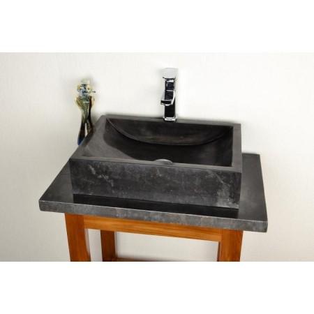 Designové kamenné umyvadlo, leštěný mramor- černý
