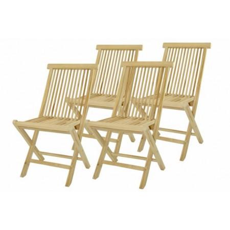 4 ks zahradní židle z masivu- týkové dřevo, skládací