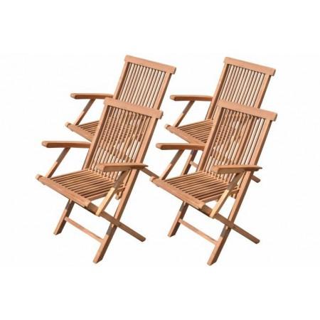 4 ks masivní zahradní židle z týkového dřeva, skládací