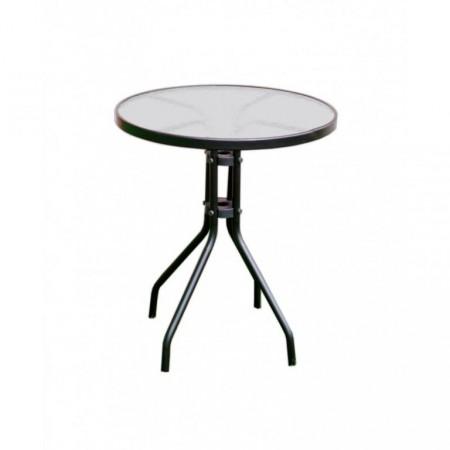 Kovový zahradní stůl kruhový se skleněnou deskou