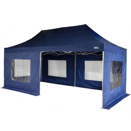 Nůžkový párty stan 3x6 m, boční stěny s okny, modrý