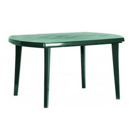 Plastový stůl na zahradu-obdélníkový, otvor pro slunečník, tm. zelený