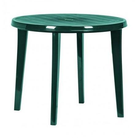 Zahradní plastový stůl kulatý, otvor pro slunečník, tm. zelený