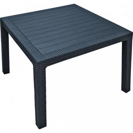 Venkovní plastový stůl čtvercový- imitace ratanu, antracit