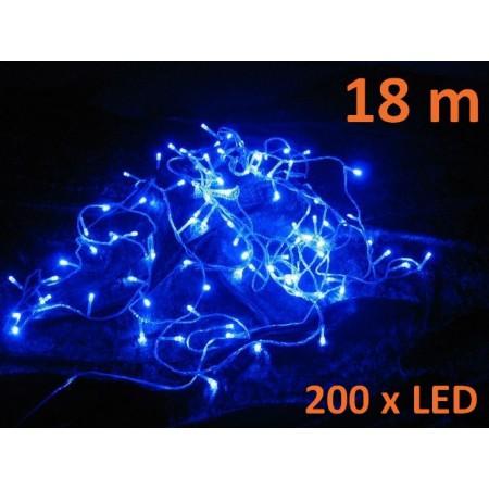 Vánoční řetěz 200 LED diod, délka 18 m, modrá