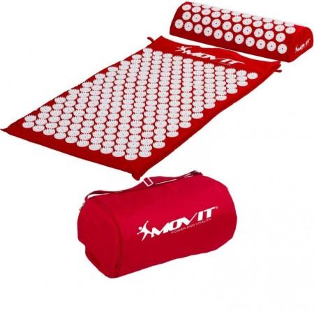Akupresurní podložka, přenosná taška, 75x44x2,5 cm, červená