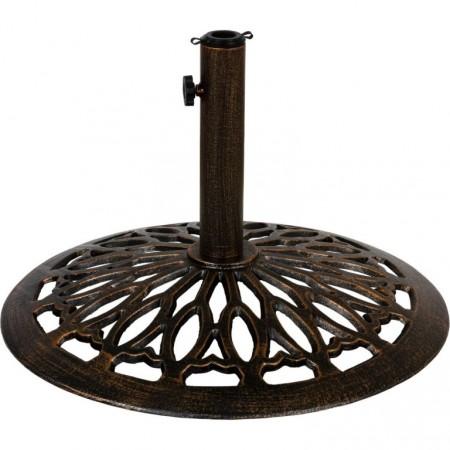 Okrasný kovový stojan na slunečníky, bronzový vzhled, 15 kg