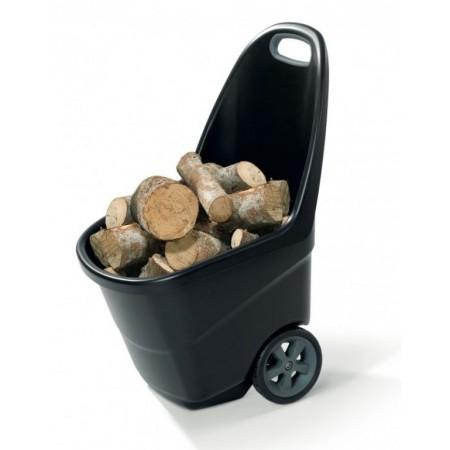 Plastový ruční vozík se 2 kolečky, 62 l, černý