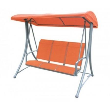 Kovová zahradní houpačka, textilní sedák a opěrka, oranžová