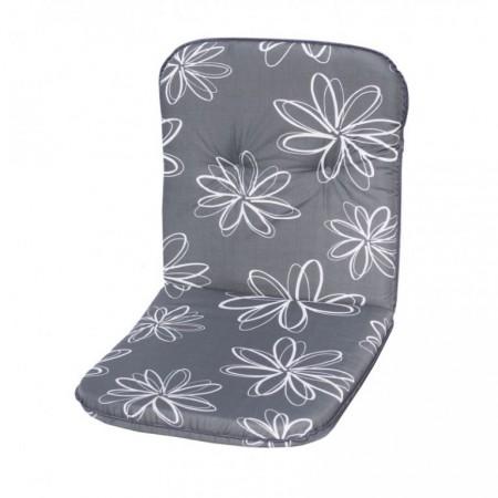 Polstrování na křeslo s nízkým opěradlem, šedé s květy