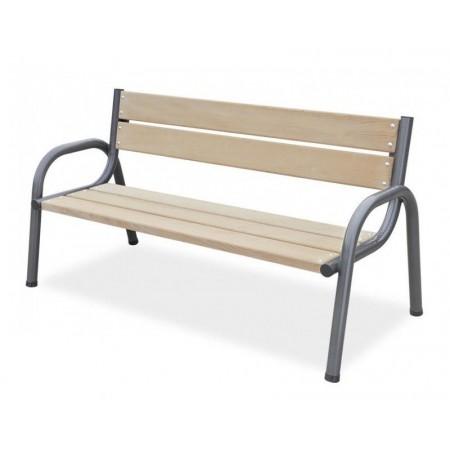 Dřevěná parková lavice, kovová kostra, borovicové dřevo