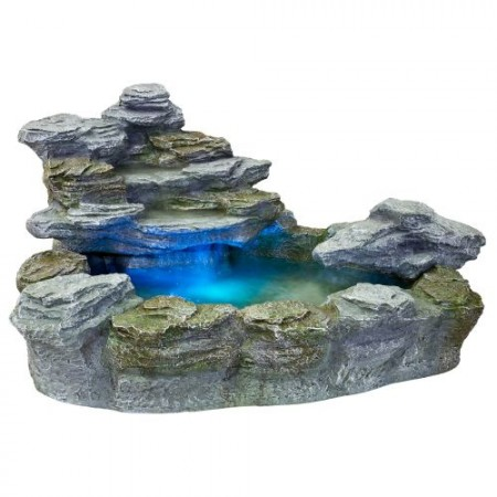 Okrasná zahradní fontána s osvětlením, kamenný vzhled, 100 cm
