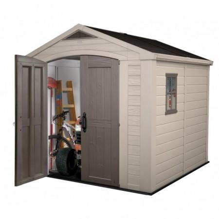 Zahradní domek na nářadí plastový, 256,5x255x243 cm, béžová / hnědá