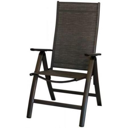 Kovové zahradní křeslo nastavitelné, textilní výplň, antracit / černá