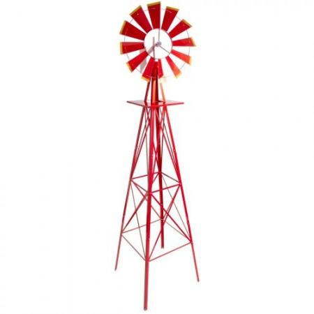 Velký kovový větrník- americký styl, 245 cm, červený