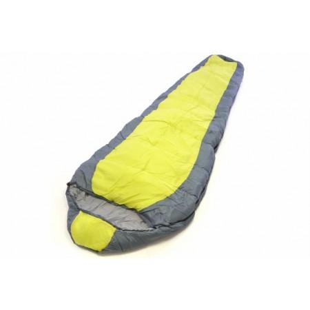 Mumiový spací pytel, polyester / hedvábí, 150 g/m², žlutá / šedá