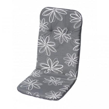 Polstrování na křeslo s vysokým opěradlem, šedá / potisk květů