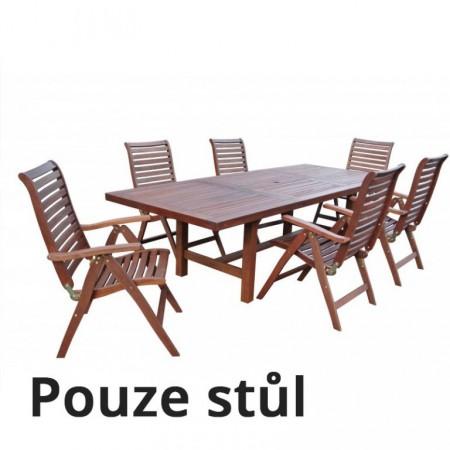 Velký zahradní dřevěný stůl z masivu, rozkládací
