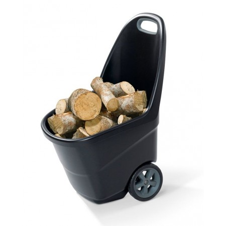 Plastový vozík s kolečky na zahradu, 62 l, černý