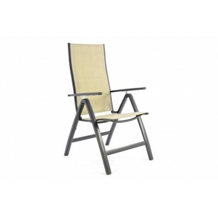 Skládací hliníková venkovní židle s textilním potahem, krémová