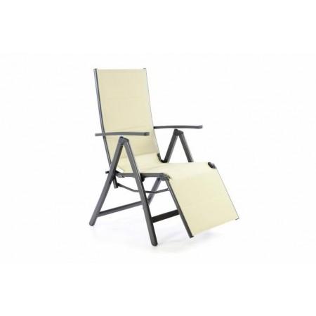 Skládací židle / lehátko 2v1, textilní potah, krémová