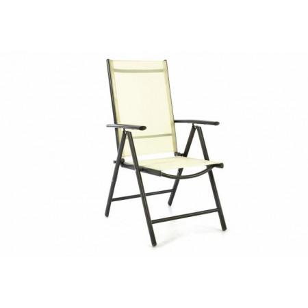 Lehká zahradní židle, nastavitelné opěradlo, skládací, krémová
