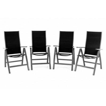 4 ks elegantní hliníková zahradní židle s područkami, černá / šedá