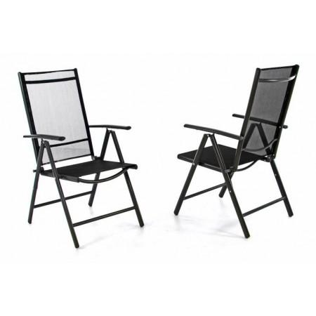 2 ks lehká hliníková zahradní židle s textilní výplní, černá / šedá