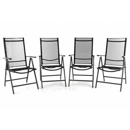 4 ks lehká hliníková zahradní židle s textilní výplní, černá / šedá