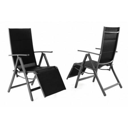 2 ks polohovatelná zahradní židle / leháko 2v1, černá / šedá