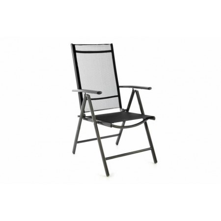 Hliníková venkovní židle se skládacím mechanismem, černá / šedá